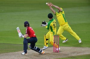 Finch stretches to take a catch to take the wicket of Billings.