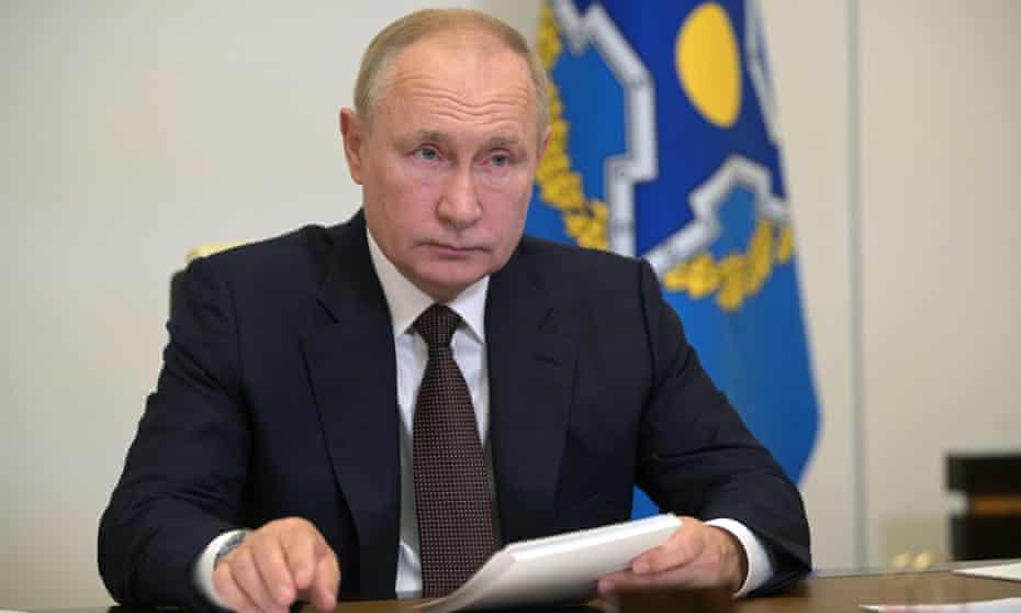 Vladimir Putin attends the CSTO summit via videoconference