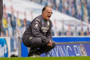 Bielsa roars out instructions during a game late last season.