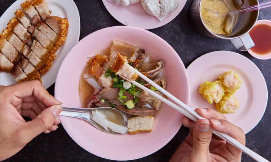 Rolled rice and broth dish at Mr Joe, Bangkok