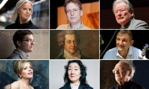 Mozart (centre) with, clockwise from top left: Anne Sofie von Otter, Robert Levin, Neville Marriner, Trevor Pinnock, Alfred Brendel, Mitsuko Uchida, Renée Fleming and Francesco Piemontesi.