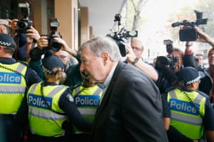 Pell arrives at court in May 2018