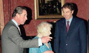 Prince of Wales, Queen Mother and Tony Blair prepare for Charles's 50th birthday at Buckingham Palace in London in 1998.