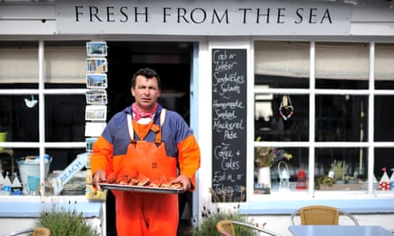 man with tray of lobsters, Fresh From The Sea, Port Isaac, Cornwall