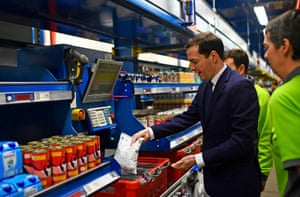 Chancellor George Osborne during a visit to an Ocado site in Hatfield, Hertfordshire.