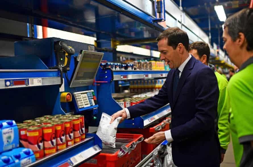 Chancellor George Osborne during a visit to an Ocado site in Hatfield, Hertfordshire.