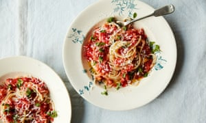 Anna Jones's no-cook tomato sauce with pasta and summer herbs.