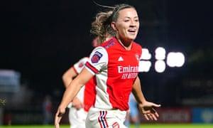 Arsenal's Katie McCabe celebrates scoring their side's third goal.