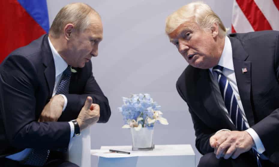 Putin and Trump speak in Hamburg, in July 2017.