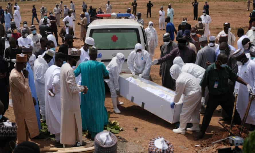 Burial of Abba Kyari, the chief of staff to President Muhammadu Buhari, who died from coronavirus, on 18 April.