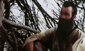 A screengrab from a video showing Stephen McGown in captivity in Mali