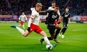 Emil Forsberg, in action here against Hoffenheim, says: 'I was a good left winger but an even better No 10.'