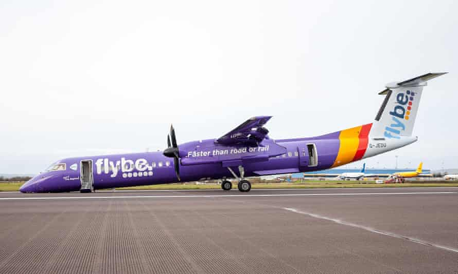 The Flybe aircraft at Belfast international airport after making an emergency landing.