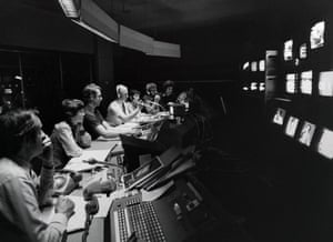 The director's gallery during a dry-run for the general election coverage in 1977