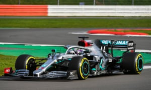 Lewis Hamilton takes a spin in the new Mercedes-AMG F1 W11 car on the track at Silverstone on Friday.