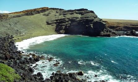 Papakolea green-sand beach in Hawaii