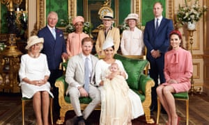 The Duke and Duchess of Sussex with their son Archie and family members in the Green Drawing Room at Windsor Castle