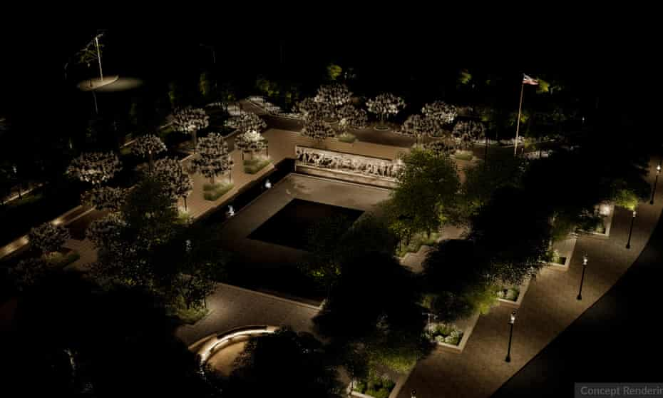 Concept rendering of the World War One Memorial from an aerial perspective.
