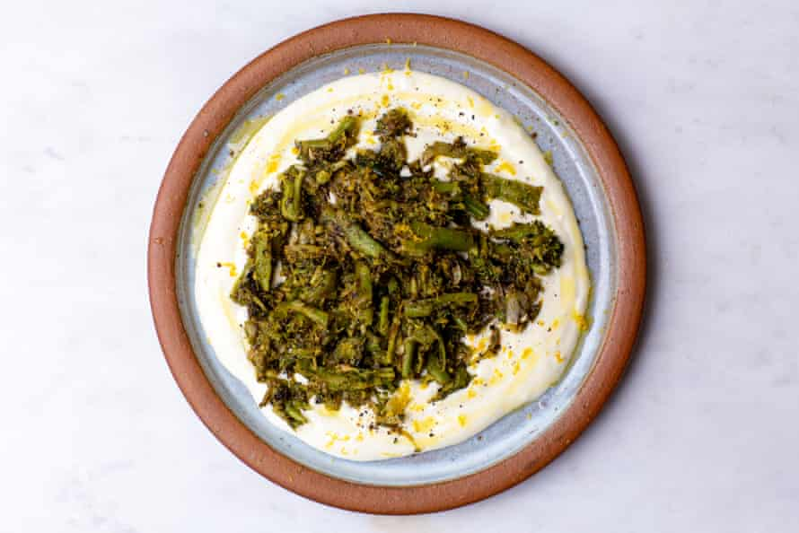 Tom Hunt's twice-cooked broccoli with whipped feta.