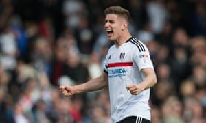 Fulham's Tom Cairney celebrates after Fulham sealed their play-off place with a win over Brentford.