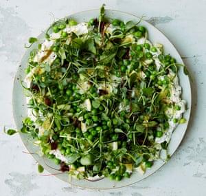 Anna Jones's peas, salted lemon, ricotta and sticky dates.