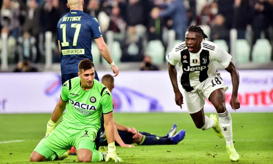 Moise Kean celebrates putting Juventus ahead against Udinese on his first strt of teh season two and a half years after Massimiliano Allegri gave him his debut a 16.