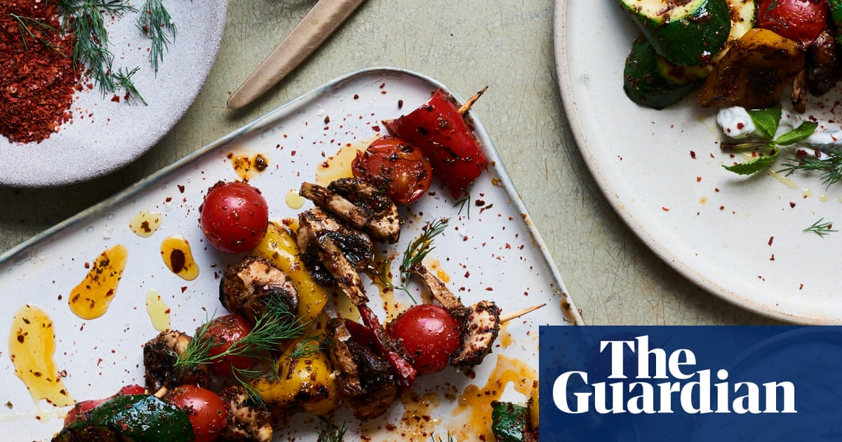 Nik Sharma's recipes for grilled veggie kebabs and spiced pistachio milk