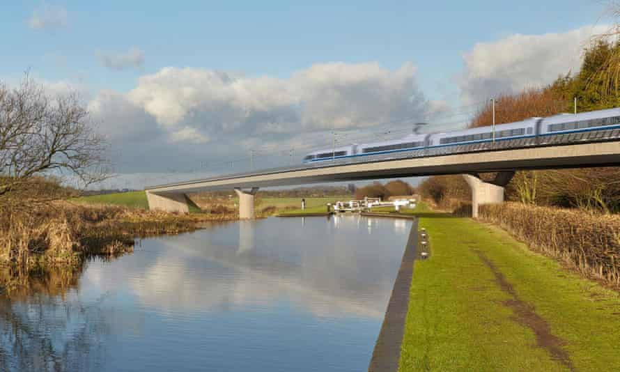 An artist's impression of an HS2 train on the Birmingham and Fazeley viaduct