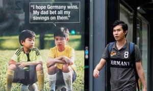 "Anti gambling advert: ""I hope Germany wins. My dad bet all my savings on them'"