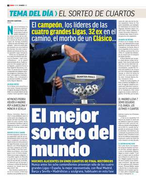 Marca looks ahead to the Champions League quarter-final draw.