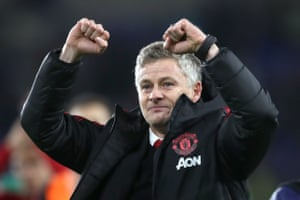 December 22: Manchester United's interim manager Ole Gunnar Solskjaer celebrates winning against Cardiff City.