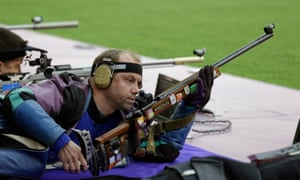 Belarus' Sergei Martynov during qualifiers for the men's 50-meter rifle prone event at the 2012 Games
