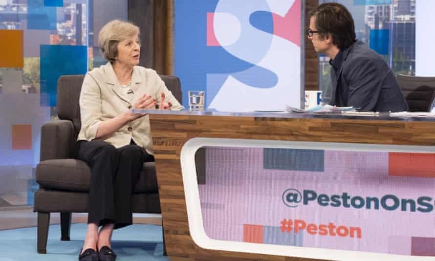 Robert Peston interviews Theresa May in 2016.