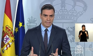 Spanish Prime Minister Pedro Sanchez during a presser after chairing a Coronavirus Technical Management meeting in Madrid, Spain, 21 March 2020. EPA/MONCLOA PALACE PRESS OFFICE