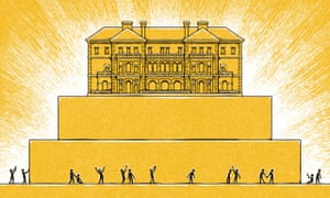 Illustration, of little people in adoration of golden mansion on golden pyrami,  by Matt Kenyon