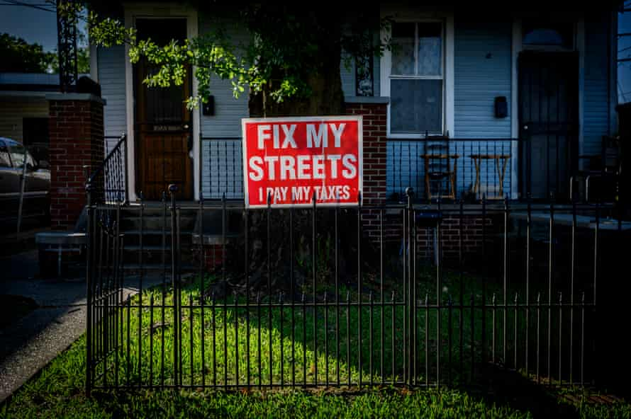 """A """"Fix my streets"""" sign in the pothole ridden Leonidas neighborhood near Wanda Cobb's home in New Orleans."""