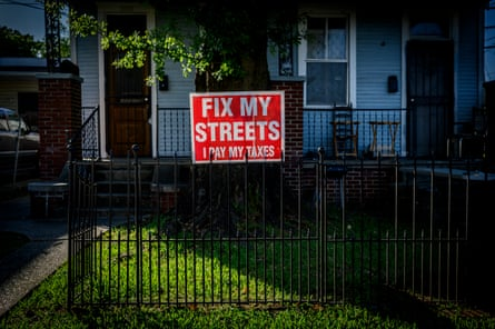 "A ""Fix my streets"" sign in the pothole ridden Leonidas neighborhood near Wanda Cobb's home in New Orleans."