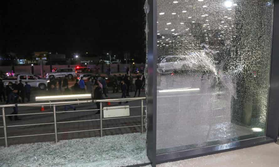 Shattered glass on the floor of a shop in Erbil after the rocket attack.