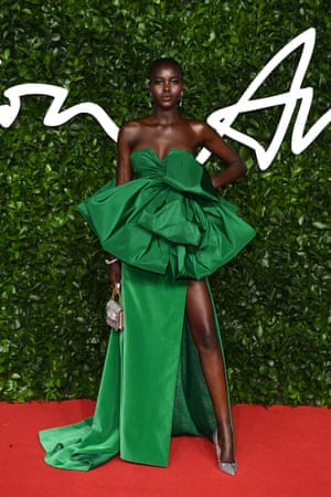 Adut Akech arrives at the 2019 fashion awards