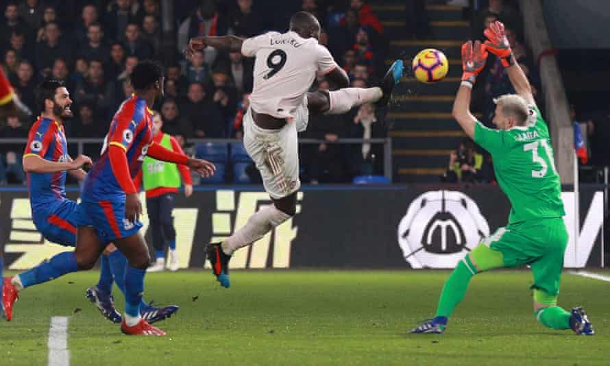 Romelu Lukaku scores his and Manchester United's second goal at Crystal Palace.