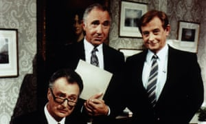 Paul Eddington, Nigel Hawthorne and Derek Fowlds in Yes, Prime Minister.