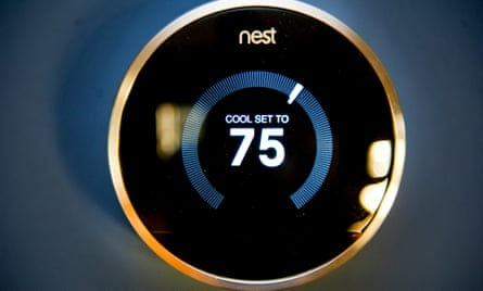 The Nest thermostat, created by a Palo Alto, California-based company, is an example of a smart home. The unit uses sensors to track heat and cooling systems in the home, and doubles as a smoke detector. It's also programmable via smartphone.