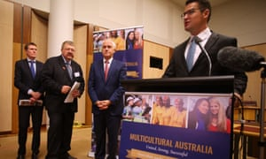 Malcolm Turnbull, social services minister Christian Porter, assistant minister Zed Seselja, and Multicultural Council chair Dr Sev Ozdowski. The council says a new English test is unfair to refugees.