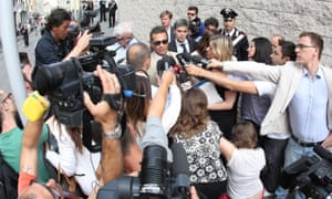 Enrico Pelillo, a lawyer for Yara Gambirasio's family, talks with journalists following the verdict