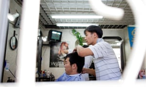 A barber's shop in Mongolia.
