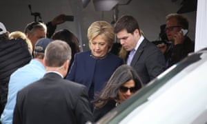 Hillary Clinton attends the funeral of Nancy Reagan in Simi Valley, California, on Friday