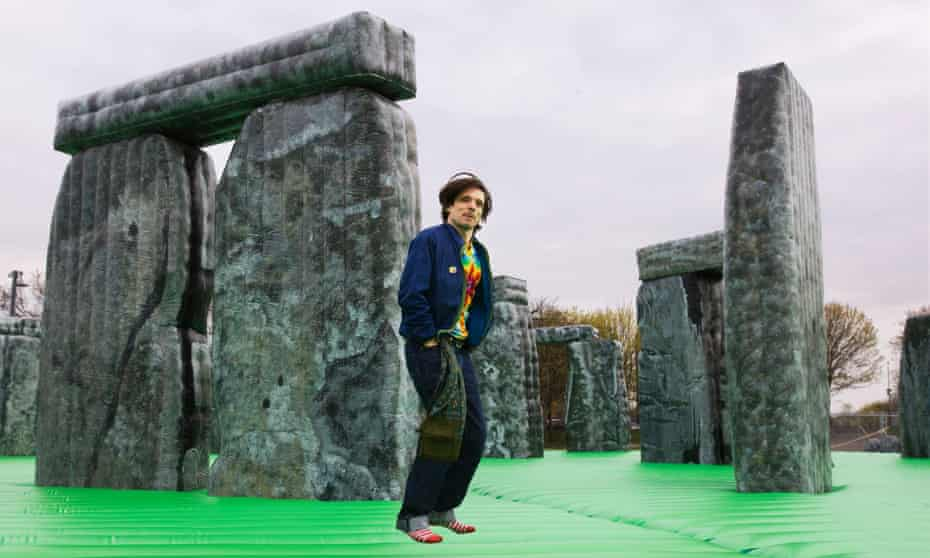 Jeremy Deller on his bouncy castle replica of Stonehenge, called Sacrilege, in 2012.