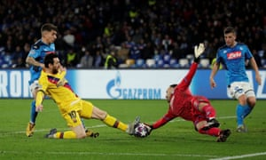 Messi and Ospina collide.