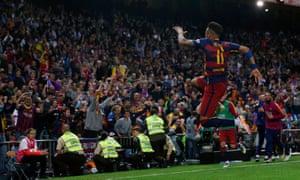 Neymar celebrates securing the double.