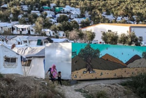 Tents in the Moria refugee camp on the Greek island of Lesbos